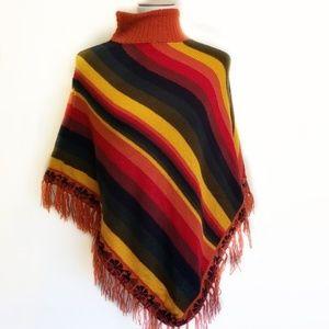 Rainbow Fringe Boho Hippie Poncho Sweater